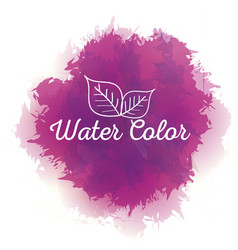 Purple watercolor with leaves paint vector