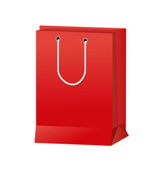 Red paper bag gift present package empty vector