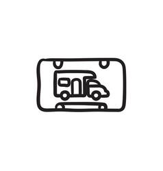 Rv camping sign sketch icon vector