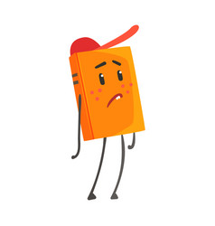 Sad orange humanized cartoon book character in a vector
