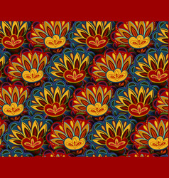 Seamless ethnic pattern with floral motives vector