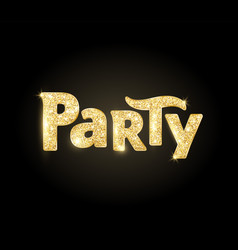 Sparkling party word glitter typography on black vector
