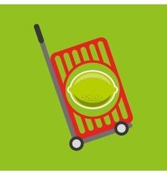 Trolley shop juicy lemon fruit vector