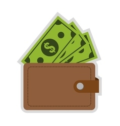 Wallet with dollar bills icon vector