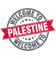 Welcome to palestine red round vintage stamp vector