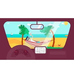 Summer travel in car vector