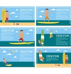 Male surfer riding on waves in sea vector