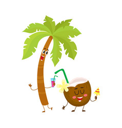 Funny palm tree and coconut characters travelling vector
