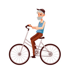 Old man in vest and hat riding a bicycle cycling vector