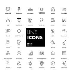 Line icons set school vector