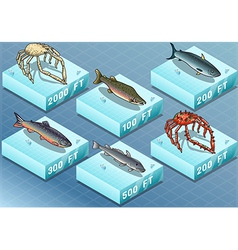 Isometric fishes on the sea vector