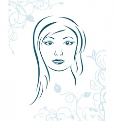 Floral background with girl face vector