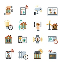 Smart house technology system icons vector