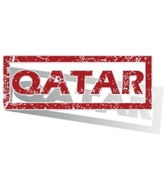 Qatar outlined stamp vector