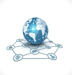 World with media network symbol for communication vector