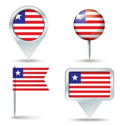 Map pins with flag of liberia vector