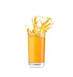 Orange juice in glass with splash vector