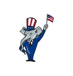 Republican mascot elephant waving us flag cartoon vector