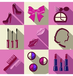 Beauty flat square icons with long shadows vector