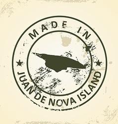 Stamp with map of juan de nova island vector