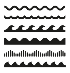 Black wave icons set vector