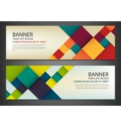 Two banners with colorful squares business design vector