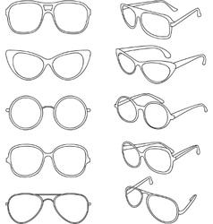 Line of sunglasses frames vector