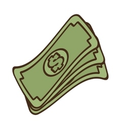 Cartoon stack money dollar bills cash vector
