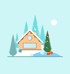 christmas and new year in the forest christmas vector image