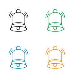 Christmas bell line icon vector