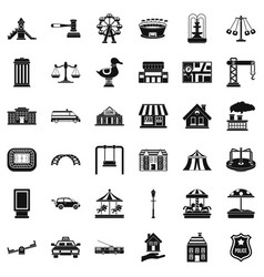 City icons set simple style vector
