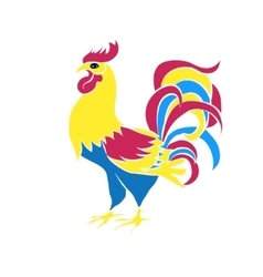 Color silhouette of an cock vector image vector image