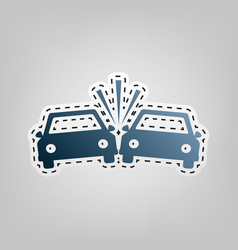 Crashed cars sign blue icon with outline vector