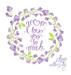 Decorative handdrawn floral round frame with sweet vector