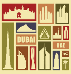 Dubai uae city icon symbol silhouette set vector
