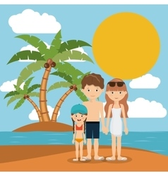 Family beach vacation design vector