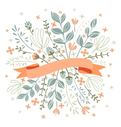 Florals and ribbon vector image vector image