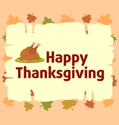Happy thanksgiving background with cooked turkey vector