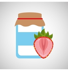 Jar cute blue with jam strawberry graphic vector