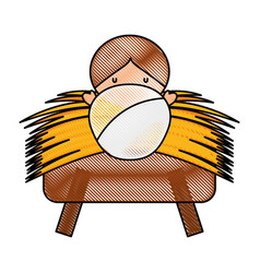 Jesus baby in straw cradle manger vector