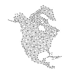 Map of north america from polygonal black lines vector