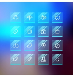 Medical flat glass icons on blur background vector