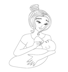 mother feeding her baby vector image vector image