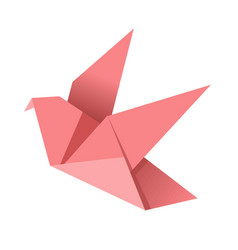 paper origami pink bird isolated on white vector image vector image
