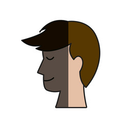 Profile head man male hairstyle shadow vector