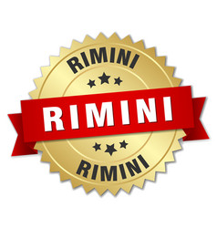 Rimini round golden badge with red ribbon vector
