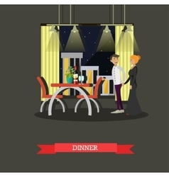 Romantic couple dinner in restaurant vector
