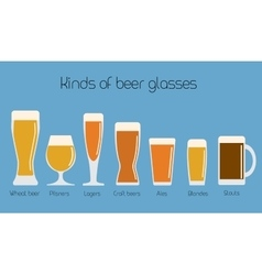 Set of beer glassware Cool minimal flat vector image