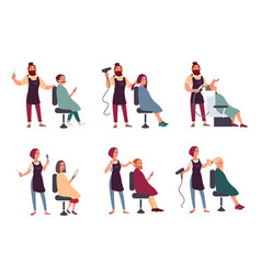 set of different hairdresser trendy man and woman vector image vector image
