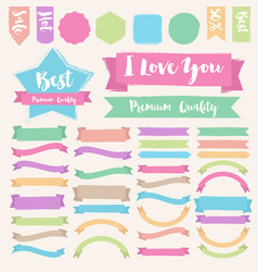 Set of painted brush style banner vector